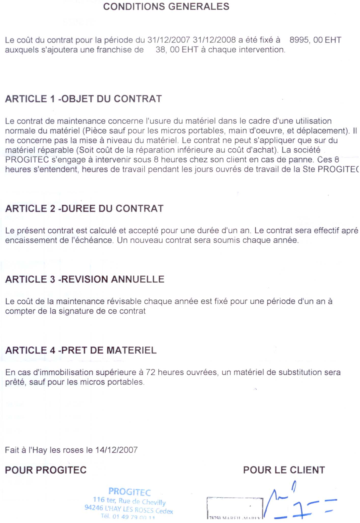 contrat de maintenance informatique pdf